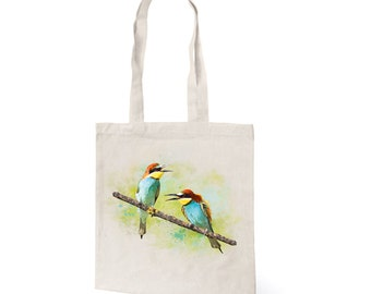 Cotton tote eco bag with original color print of birds Bee eaters, Everyday Bag, Eco Bag
