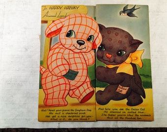 Vintage Happy Hanky Animal Land Fold Out 1940's