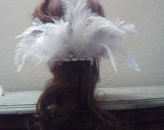 White Feather Shell Hair Clip