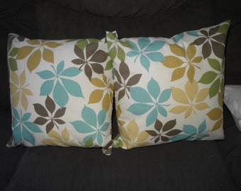 Floral 15 inch square pillows