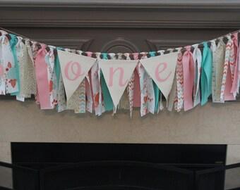 Floral Rag Banner Pink and Aqua Floral Banner Floral Garland