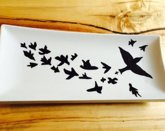 Flock of Birds hand painted ceramic plate