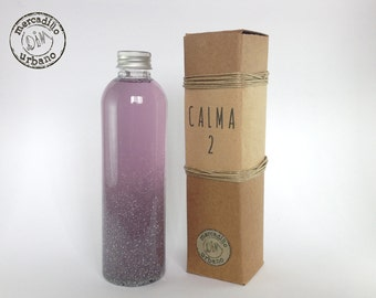 Calming Bottle, Sensory bottle, Montessori style, with glitter and stars that calms stress and crying children. Purple bottle