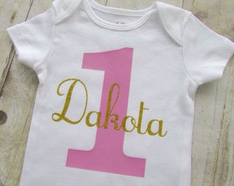 1st birthday shirt - first birthday shirt - 1st birthday - personalized 1st birthday shirt - name baby bodysuit - baby girl 1st birthday