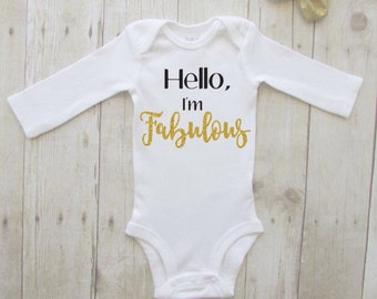 Christmas gift for baby - baby shower gift ideas for girl - hello im fabulous - baby hospital outfit - bring home baby outfit