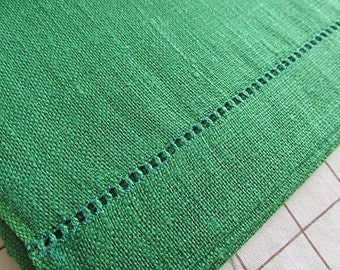 Linen tea towel dish cloth made in Czechoslovakia green vintage 70s never used.