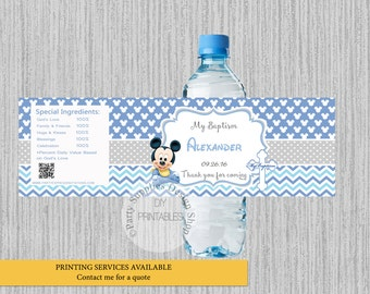 Baby Mickey Mouse Baptism Water Bottle Labels, Mickey Christening Personalized Water Bottle Wrappers, DIY Printables, Mickey Party Supplies