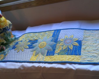 Table Runner, Handmade Table Runner, Quilted Table Runner, Blue, Yellow