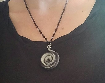 Clay swirl necklace black and silver with black chain