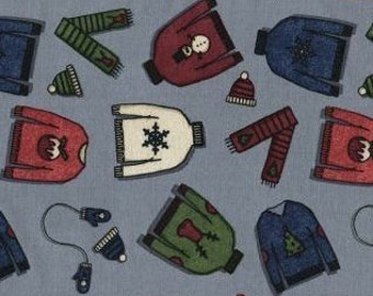 """Tinsel Town by Dear Stella Sweaters 308 Gray 100% cotton 44"""" fabric by the yard ***K12***"""