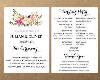 Printable Wedding program fan template card , Boho Floral Wedding card, watercolor Flower Ceremony Editable Text INSTANT DOWNLOAD PDF37