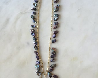 Abalone keshi pearl necklace