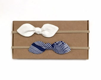 Crosshatch Bows // Small Bows // Baby Bow Set // Navy Bow // Baby Gift // Baby Shower