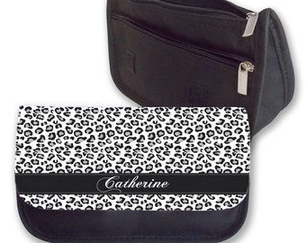 Personalised Pencil Case Leopard Print Black and White Make Up Bag Purse