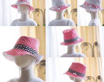 Reversible red/white/black Fedora Hat