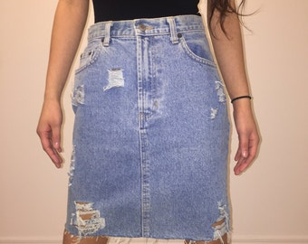 Vintage Distressed Denim Skirt Size 28 Handmade to Order