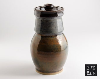 Stoneware Jar with Lid - Ceramic Lidded Vessel  . pottery clay handmade kitchen storage container
