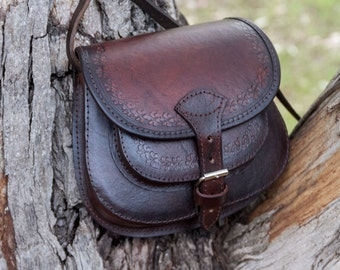 Small leather, cross-body bag, leather purse