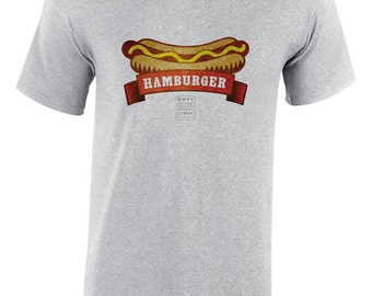 "Hamburger design shirt by Copylighted, ""Hamburger or Hot-dog?"" hard to decide , men's clothing"