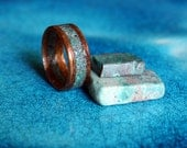 African Walnut wood ring with Chrysocolla stone inlay