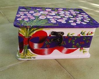 painted, wood, decoration, jewellery, save box wood box.