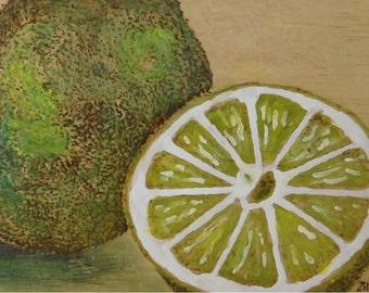 Juicy Lime Encaustic Painting