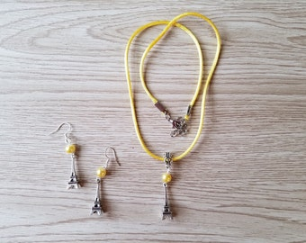 Eiffel Tower. Necklace and earrings Set
