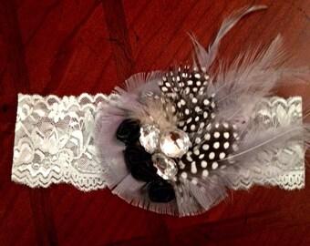Feather & Lace headband