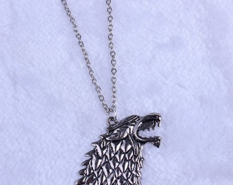 Dire Wolf Head Necklace Pendant. 20 inch chain