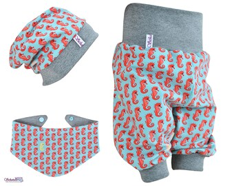 Baby set 3pcs. consisting of bloomers Beanie triangle towel in turquoise-grey with seahorses