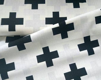 Black cross fabric, 100% cotton, black cross cotton, printed cotton, monochrome fabric, fabric with black cross