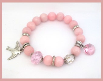 Pink Jadeite  Bracelet with Bird Charm and Swarovski crystals, Jablonex crystal