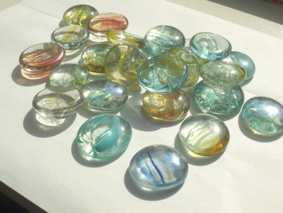 Colored glass oval stones for aquarium or home and office for Colored stones for crafts