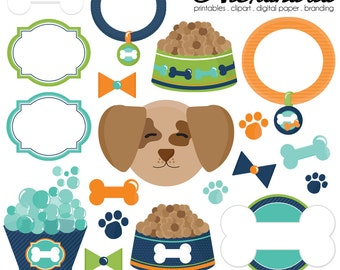 Pampered Pooch Digital Clipart - Personal & Commercial Use - Dog Clipart, Pet Graphics, Puppy Dog Images