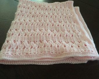 Crochet handmade baby blanket. Lightweight in pink 40in x 40in Shell pattern