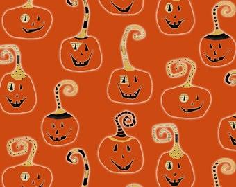 BTHY - Cheeky Wee Pumpkins By DT-K Signature from Studio e Fabrics, Pattern #3268-33 Pumpkins Orange, Patterned Jack-o-lanterns on orange