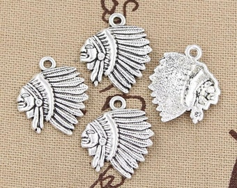 6 Native American Indian Charms Antique Silver Tone Charms Indian Chief Charms Charms Bracelet Bangle Bracelet Pendants #241