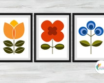 Poster Size - Scandinavian Flower Prints - 50cm x 70cm - Set of 3 - MidCentury Design Kitchen Poster, Scandi Wall Art