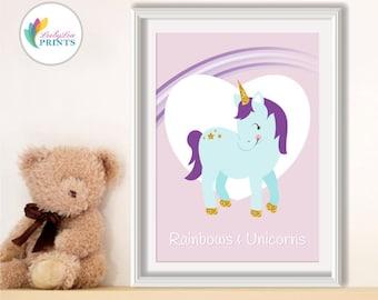 Unicorn Nursery Print in Pastels and Glittery Gold -  Nursery Print - Girl's Bedroom Print