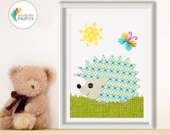 Hedgehog Nursery Art Print -  Nursery Print, Boys Nursery or Girls Nursery - Child's Bedroom Wall Art