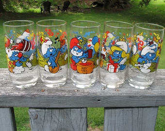 Lot Of 5 Vintage Smurf Glasses