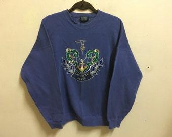 Vintage 90's Trussardi Jeans Blue Sport Classic Design Skate Sweat Shirt Sweater Varsity Jacket Size L #A485