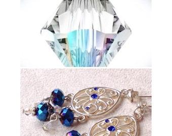 Swarovski Crystals & Czech Crystals Chandelier Earrings in Royal Navy Blue Handmade