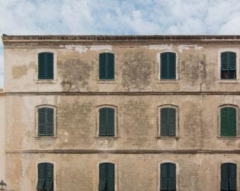 Windows, Shutters, Travel, Facade, Teal, Pattern, Photograph, Fine Art, Print, Wall Art, Sardinia, Italy, Europe