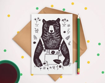The Gardener Bear- postcard