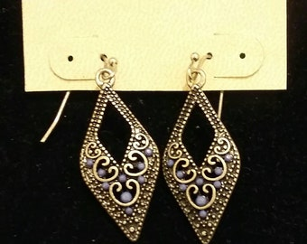 Bohemian Style Dangle Earrings - silver toned metal design with stone embellishments