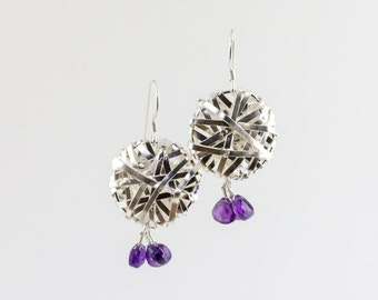 Silver jaali earrings with amethyst drops