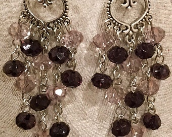 Deep Plum & Light Rose Chandelier Earrings