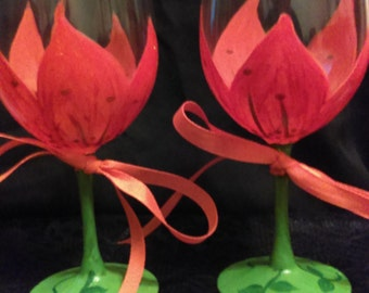 2 piece Orange Lily Hand Painted Wine Glass Set