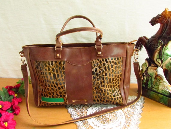 Brown pull up leather bag, luxury bag, crocodile print bag, oversized leather bag, Brown bag, Leather tote, partitioned bag